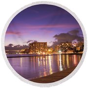 City Lights Reflections Round Beach Towel