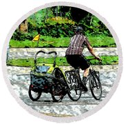 City Man On A Bike Round Beach Towel