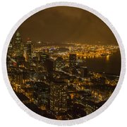 City Night Round Beach Towel