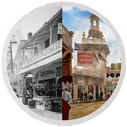 City - Ny - The Great Steeplechase 1903 - Side By Side Round Beach Towel