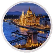 City Of Budapest At Twilight Round Beach Towel