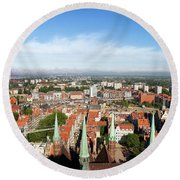 City Of Gdansk Aerial View Round Beach Towel