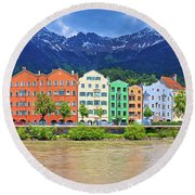 City Of Innsbruck Colorful Inn River Waterfront Panorama Round Beach Towel