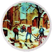 City Of Montreal Hockey Our National Pastime Round Beach Towel