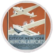 City Of New York Municipal Airports Round Beach Towel
