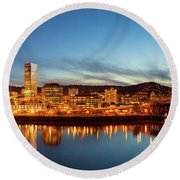 City Of Portland Skyline Blue Hour Panorama Round Beach Towel