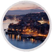 City Of Porto In Portugal At Dusk Round Beach Towel