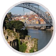 City Of Porto In Portugal Picturesque Scenery Round Beach Towel