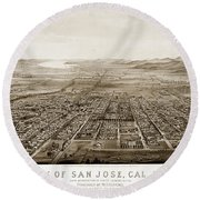 City Of San Jose County Of Santa Clara 1875 Round Beach Towel