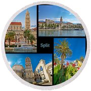 City Of Split Nature And Architecture Collage Round Beach Towel