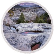 City Of The Rocks Round Beach Towel