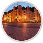 City Of Wroclaw Old Town Market Square At Night Round Beach Towel