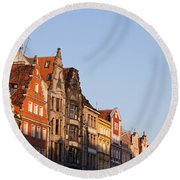 City Of Wroclaw Old Town Skyline At Sunset Round Beach Towel