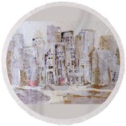 City On The River  Round Beach Towel