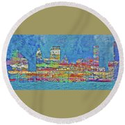 City On The Water Round Beach Towel