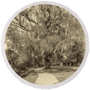 City Park New Orleans - Sepia Round Beach Towel
