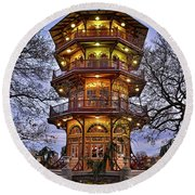City Park Pagoda Round Beach Towel