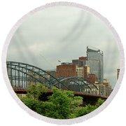 City - Pittsburgh Pa - The Grand City Of Pittsburg Round Beach Towel