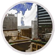 City Skies Round Beach Towel