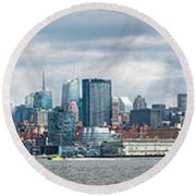 City - Skyline - Hoboken Nj - The Ever Changing Skyline Round Beach Towel