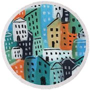 City Stories- Blue And Orange Round Beach Towel