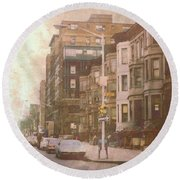 City Streets In Grunge 2 Round Beach Towel