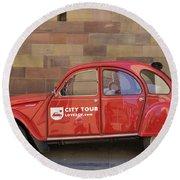 City Tour Car Strasbourg France Round Beach Towel
