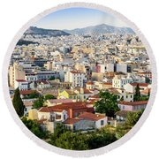 City View Of Old Buildings In Athens, Greece Round Beach Towel