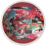 Citysacpe At Twilight  Original Abstract Colorful Landscape Painting For Sale Red Blue  Round Beach Towel