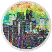 Cityscape Art City Optimist Round Beach Towel