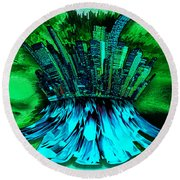 Cityscape Blue Round Beach Towel