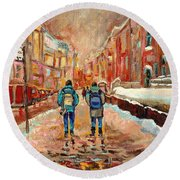 Cityscape In Winter Round Beach Towel