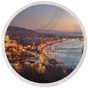 Cityscape Of Budapest, Hungary At Night And Day Round Beach Towel