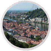Cityscape  Of Heidelberg In Germany Round Beach Towel