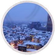 Cityscape Of Utrecht With The Dom Tower  In The Snow 13 Round Beach Towel