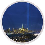 Cityscape Tribute In Lights Nyc Round Beach Towel