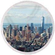 Cityscape View Of Manhattan, New York City. Round Beach Towel