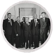 Civil Rights Leaders And President Kennedy 1963 Round Beach Towel