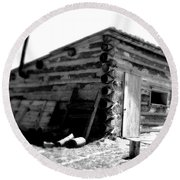 Civil War Cabin 1 Army Heritage Education Center Round Beach Towel