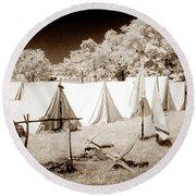 Civil War Encampment - Infrared Round Beach Towel
