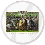 Civil War Generals And Statesman With Names Round Beach Towel
