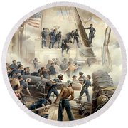 Civil War Naval Battle Round Beach Towel