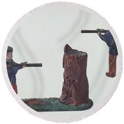 Civil War Soldier & Tree Trunk Bank Round Beach Towel