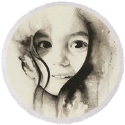 Claire Black And White Round Beach Towel