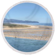 Clam Digging Morning 0200 Round Beach Towel
