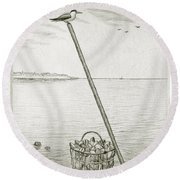 Clamming Round Beach Towel
