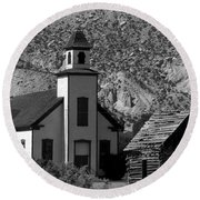 Clapboard Church 1898 Round Beach Towel