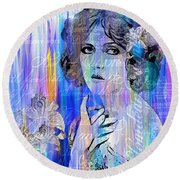 Clara Bow I'll See You In New York Round Beach Towel