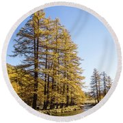 Claree Valley In Autumn - 1 - French Alps Round Beach Towel