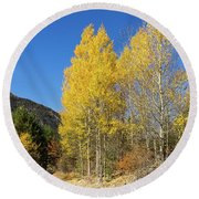 Claree Valley In Autumn - 11 - French Alps Round Beach Towel